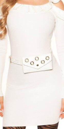 Opasková kabelka s očkami | Biela