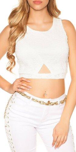 Dámsky čipkovaný crop top | Biela