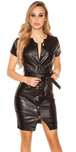 Mini šaty koženého vzhľadu s gombíkmi | Čierna