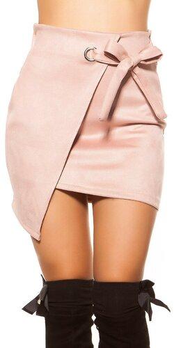 Semišová mini sukňa | Bledá ružová