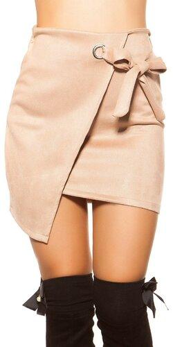 Semišová mini sukňa | Cappuccino