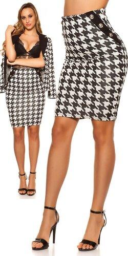 Pencil sukňa s houndstooth vzorom | Čierno-biela