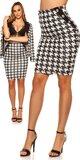 Pencil sukňa s houndstooth vzorom Čierno-biela