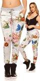 Bavlnené kvetinové tepláky Biela