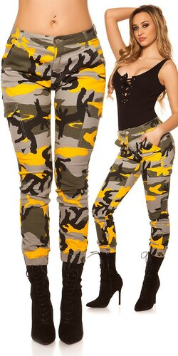 Maskáčové cargo džínsy | Oranžová