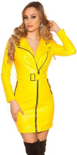 Kožené mini šaty s opaskom | Žltá