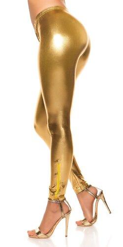Lesklé dámske legíny | Zlatá