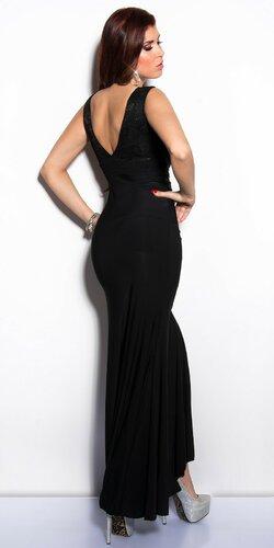 Elegantné maxi šaty zdobené veľkými kamienkami Čierna