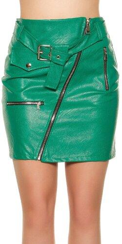 Kožená mini sukňa so zipsom | Zelená