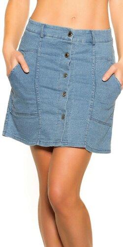 Bavlnená riflová sukňa | Modrá