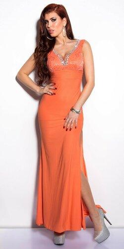Elegantné maxi šaty zdobené veľkými kamienkami Koralová