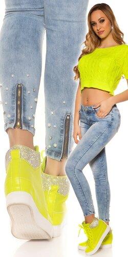 Svetlé bavlnené džínsy | Modrá