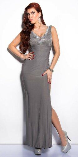 Elegantné maxi šaty zdobené veľkými kamienkami | Šedá tmavá