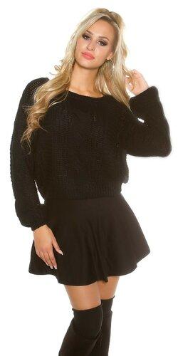 Čierny štrikovaný sveter | Čierna
