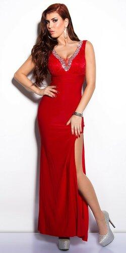 Elegantné maxi šaty zdobené veľkými kamienkami | Červená