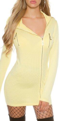 Rolákový sveter so zapínaním na zips | Žltá