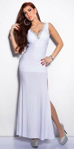 Elegantné maxi šaty zdobené veľkými kamienkami Biela
