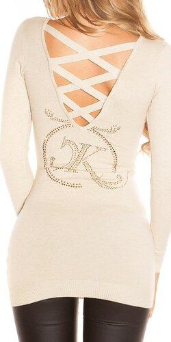 Dlhý KouCla sveter s logom | Béžová