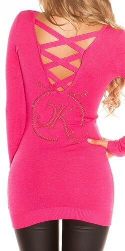 Dlhý KouCla sveter s logom | Ružová