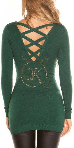 Dlhý KouCla sveter s logom | Zelená