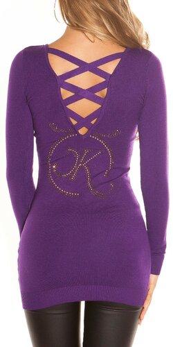Dlhý KouCla sveter s logom | Fialová