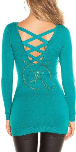 Dlhý KouCla sveter s logom | Zafírová