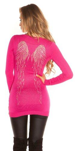 Dlhý sveter s anjelskými krídlami | Ružová