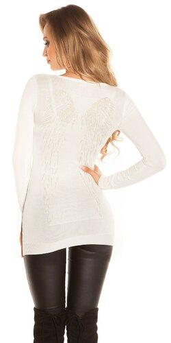 Dlhý sveter s anjelskými krídlami | Krémová