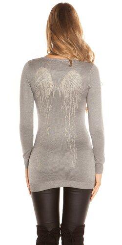 Dlhý sveter s anjelskými krídlami | Šedá