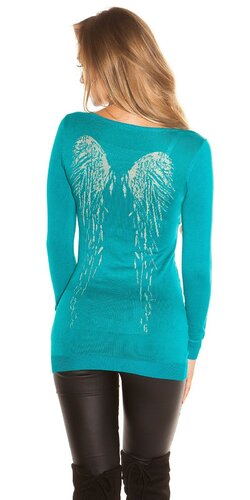 Dlhý sveter s anjelskými krídlami | Zafírová