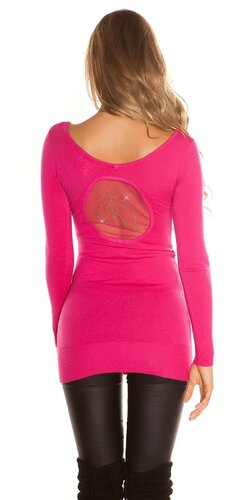 Jemný dlhý sveter | Ružová
