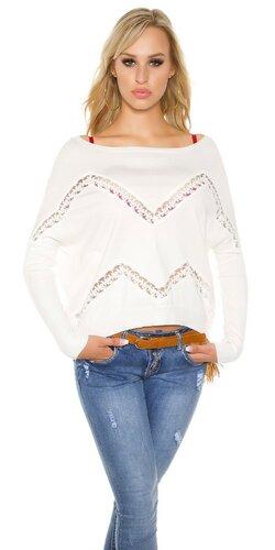 Krátky shoulder off pulóver s priehľadnými prvkami | Biela