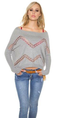 Krátky shoulder off pulóver s priehľadnými prvkami | Šedá