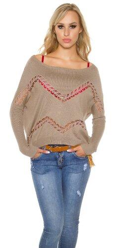 Krátky shoulder off pulóver s priehľadnými prvkami | Béžová