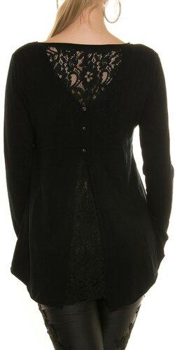 Ležérny sveter s čipkou | Čierna