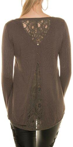 Ležérny sveter s čipkou | Cappuccino
