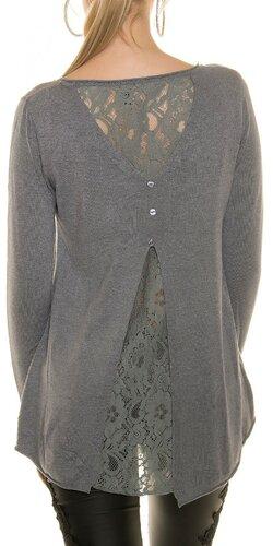 Ležérny sveter s čipkou | Šedá