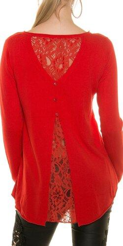 Ležérny sveter s čipkou | Červená