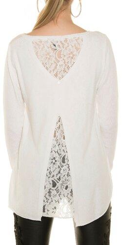 Ležérny sveter s čipkou | Biela