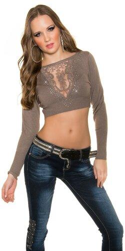 Crop top sveter s čipkou vo výstrihu