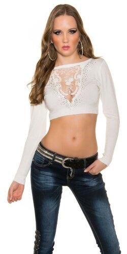Crop top sveter s čipkou vo výstrihu | Biela