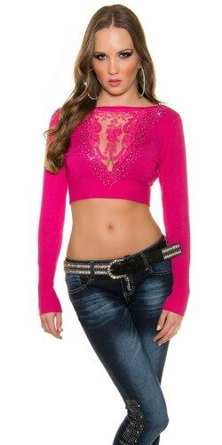Crop top sveter s čipkou vo výstrihu | Ružová
