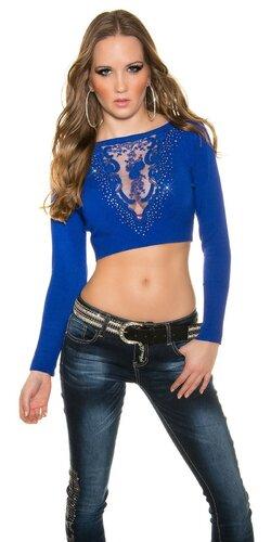 Crop top sveter s čipkou vo výstrihu | Modrá