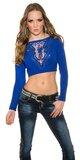 Crop top sveter s čipkou vo výstrihu Modrá