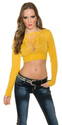 Crop top sveter s čipkou vo výstrihu | Žltá