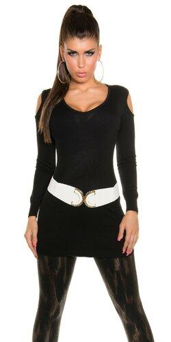 Dlhý sveter s otvormi na ramenách | Čierna