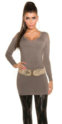 Dlhý sveter s otvormi na ramenách | Cappuccino
