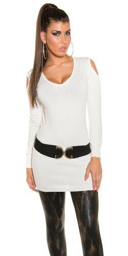 Dlhý sveter s otvormi na ramenách | Biela
