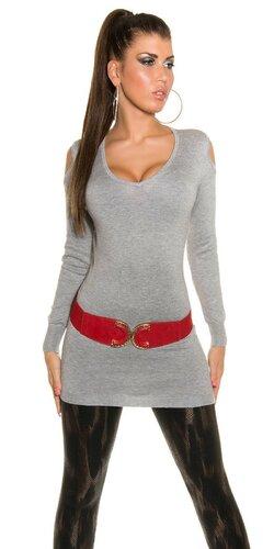 Dlhý sveter s otvormi na ramenách | Šedá