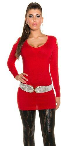 Dlhý sveter s otvormi na ramenách | Červená